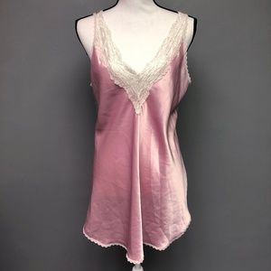 VTG 80s Pink Silky Lace Lined Lingerie Nightie